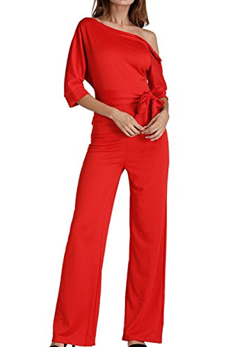 BETTE BOUTIK Women's Cotton Fancy Rompers with Pockets Sexy One Off Shoulder Wide Leg Long Jumpsuit Red (Women's Leisure Suits)