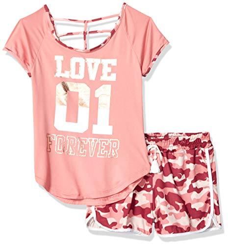 One Step Up Girls' Big Soft Knit Top and Short Set, Mauve camo, ()