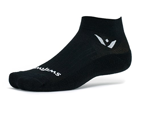 Swiftwick - Pursuit ONE, Ankle Socks for Golf and Running, Black, X-Large