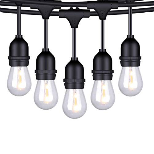 FOXLUX Outdoor LED String Lights - 48FT Shatterproof & Waterproof S14 Heavy-Duty Outdoor Lights - 15 Hanging Sockets, 1W Plastic Bulbs - Create Ambience for Patio, Backyard, Garden, Bistro, Cafe -