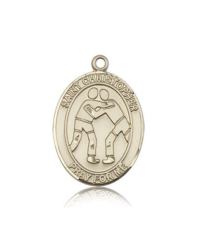 14kt Gold St. Christopher/Wrestling Medal by Bliss