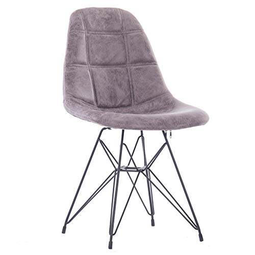 Porthos Home LVC010A Gry Mid-Century Modern Faux Leather Upholstered Dining with Unique Eames Style Eiffel Metal Legs, Easy Assembly, One Size, Gray