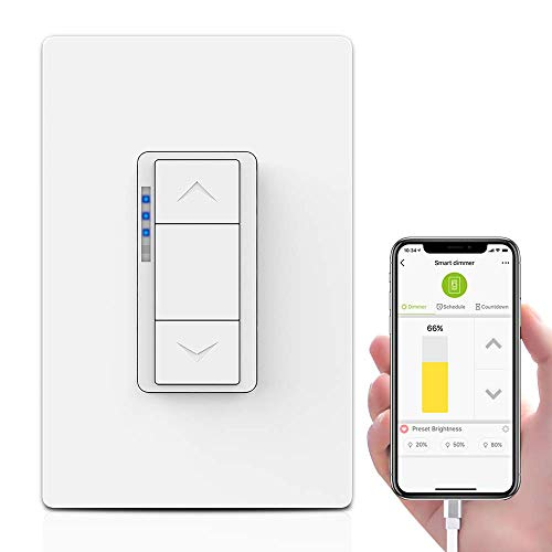 Ankuoo Smart Dimmer Switch Works with Alexa, DIY, Hub Easy installation and App control as On/Off/Timer, Neutral Wire Required, Single Pole Only, 4.1 x 18 x 17, White