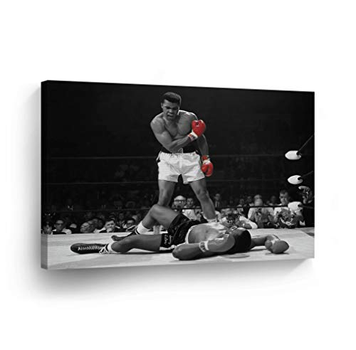 (A Famous Picture - Muhammad Ali vs Sonny Liston/Red Gloves Canvas Print First Minute First Round/Knockout/Decorative Art Wall Decor Artwork- Ready to Hang -%100 Handmade in The USA - 19x28)