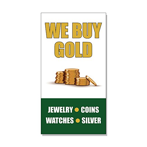 We Buy Gold Jewelry Coins Watches Silver DECAL STICKER Retail Store Sign - 14.5 x 36 inches by Fastasticdeals