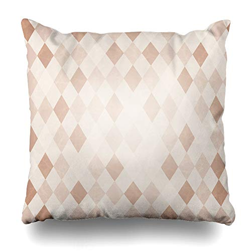 Ahawoso Throw Pillow Cover Style Beige Pattern Retro Harlequin Vintage Diagonal Diamond Argyle Socks Wool Abstract Design Home Decor Cushion Case Square Size 18 x 18 Inches Zippered Pillowcase