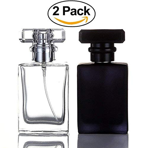 Perfume Cologne Bottle - Futureup 2 Pack - 30ML Flint Glass Refillable Perfume Bottle, Square Portable Cologne Atomizer Empty Bottle with Spray Applicator For Travel (Transparent and Black)