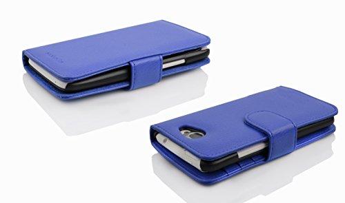 Cadorabo - Funda Sony Xperia M2 Book Style de Cuero Sintético en Diseño Libro - Etui Case Cover Carcasa Caja Protección con Tarjetero en BURDEOS-VIOLETA AZUL-REAL