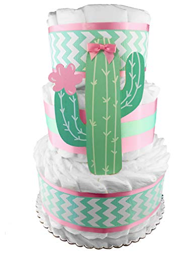 Cactus 3-Tier Diaper Cake - 50 Size 1 Diapers - Girl Baby Shower Gift - Mint and Pink ()