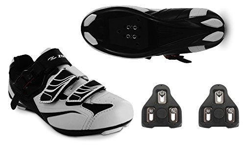Zol White Road Cycling Shoes +Cleats (38 CM (EU)/ 6 Mens (US)/7.5 Womens)