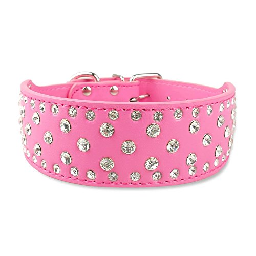 Didog Sparkly Rhinestone Wide Dog Collar -Soft PU Leather Royal Look - Hot Pink M Size - Fit for Medium Breeds
