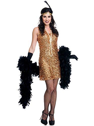 Dazzling Darling Flapper Adult Costume Gold - Medium