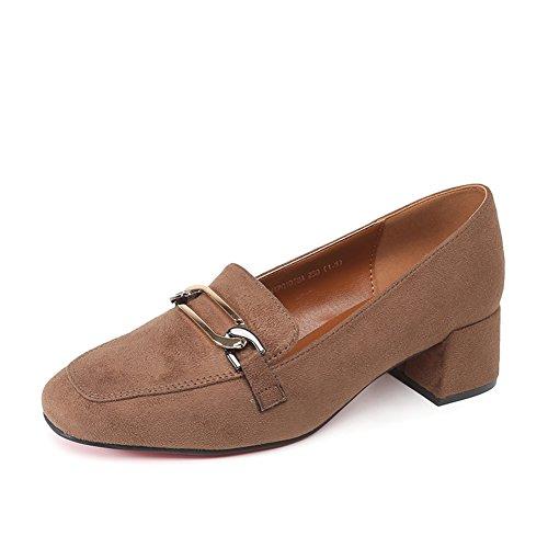 Damenschuhe,Thick Heel Square Cap Foot Schuhe-B Fußlänge=23.3CM(9.2Inch)