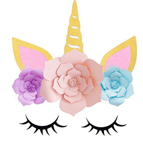 ADIDO EVA Unicorn Backdrop Party Supplies Decorations DIY Unicorn Flower Backdrop with Glitter Giant Horn Ears Eyelashes for Girls Birthday Party Baby Shower