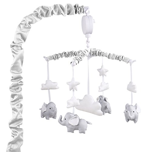 Grey Digital Musical Mobile with Elephants, Clouds and Stars by The Peanut Shell