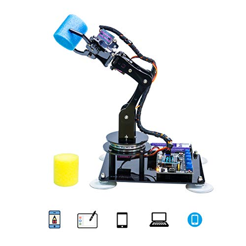 Adeept Arduino Compatible DIY 5-DOF Robotic Arm Kit for Arduino UNO R3 | STEAM Robot Arm Kit with Arduino and Processing Code | with PDF Tutorial via Download Link (Best Arduino Robot Kit)
