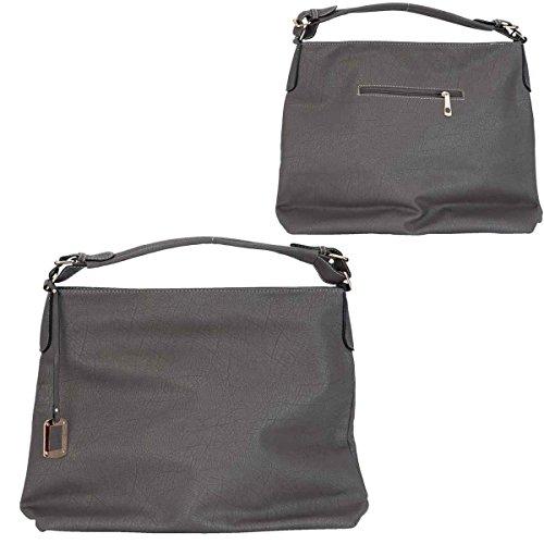 Clayre & Eef BAG220 borsa in ecopelle grigio ca, 33 x 35 cm