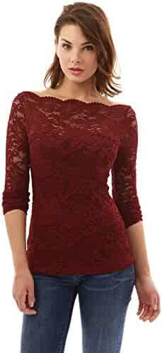 3114479395e PattyBoutik Women s Boatneck Sweetheart Inset Floral Lace Blouse