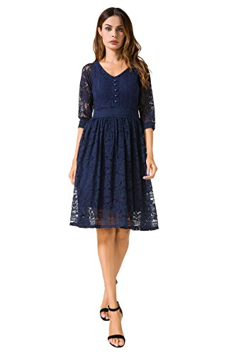 3/4 sleeve lace dress knee length - 4