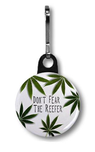 DON'T FEAR the REEFER Marijuana Pot Leaf 1 inch Zipper Pull Charm