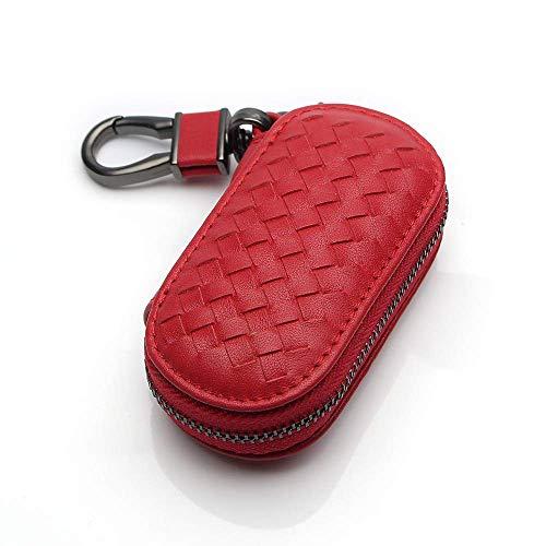 VSLIH Genuine Leather car Smart Key case,Universal Key Bag Zipper Protective Cover Wallet fob, Suitable for All Kinds of car Key Holder(Red Key case)