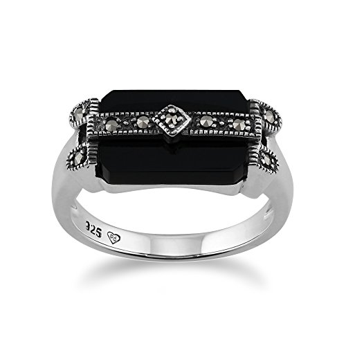 925 Sterling Silver Art Deco Black Onyx & Marcasite Ring