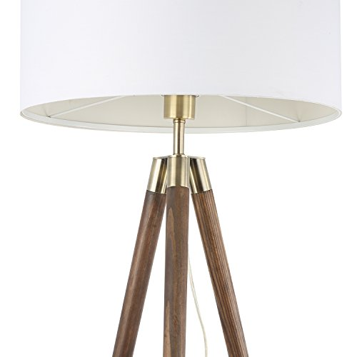 Light Society Celeste Tripod Floor Lamp, Walnut Wood Legs with Antique Brass Finish and White Fabric Shade, Mid Century Contemporary Modern Style (LS-F233-WAL) by Light Society (Image #2)