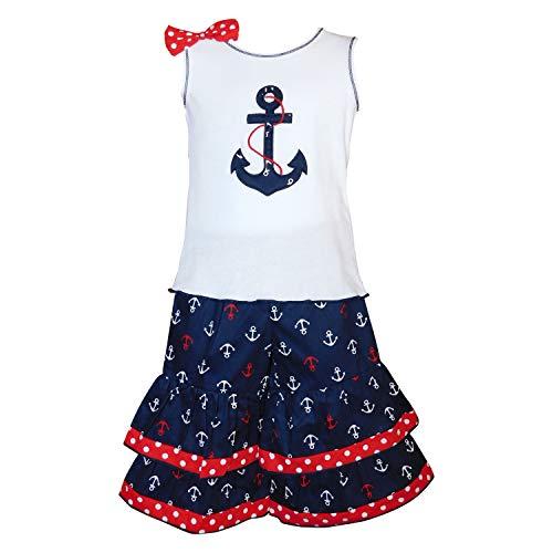 AnnLoren 2-3T Sailor Girls Nautical Anchor Tank Top & Capris Red White Blue