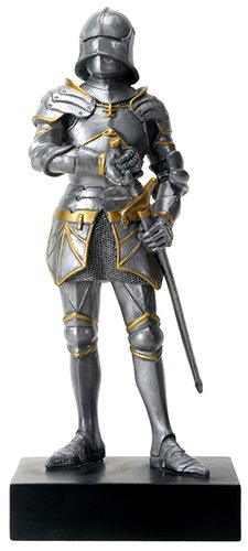 Standing Knight Figurine - Silver Colored Gothic Knight Design Standing Statue in Full Armor