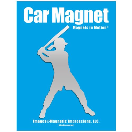 Softball Batter Car Magnet Chrome