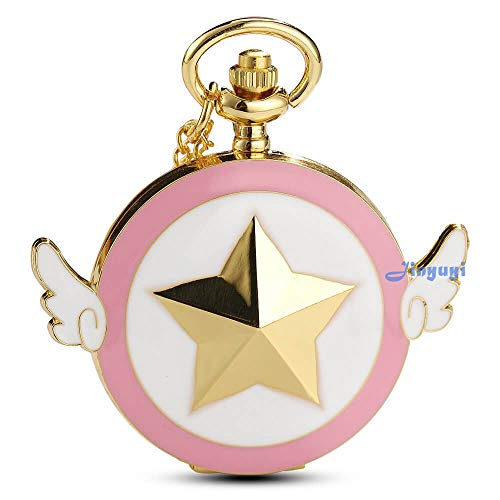 (Womens Sakura Star Wings Quartz Pocket Watch with Chain + Gold)