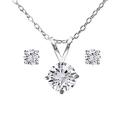 GemStar USA Sterling Silver Created White Sapphire Round Solitaire Necklace and Stud Earrings Set Created White Sapphire Necklace