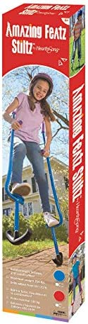 HearthSong Adjustable Ergonomic Amazing Featz Kids Stiltz with Treaded 51-79 in Red Holds Up to 250 Lbs. Arced Feet and Foam Handles