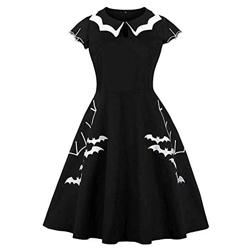 (Sexy Panyan Gothic Dress Women Black Bat Embroidery Hollow-Out Block Retro Halloween Dress Black)