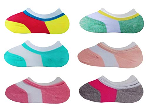 (RATIVE Thin Flat Liner No Show Low Cut Cotton Socks For Kids Girls (Shoe size :12-6, Pack 6/assorted))