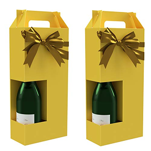 Wine Gift Box x2 - Reusable Caddy - Easy to Assemble - No Glue Required - Solid Yellow - Holds 2 Bottles - Margaux Collection - EZ Wine Gift Box by Endless Art US...