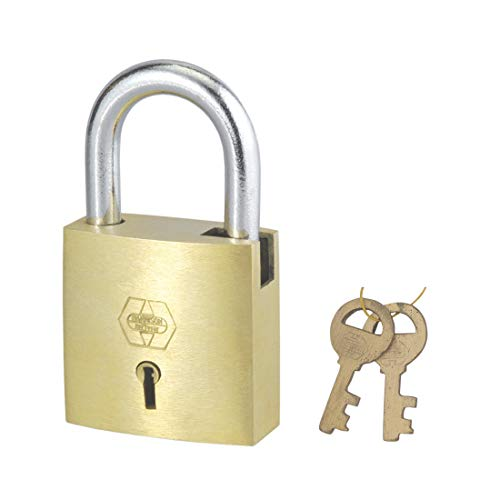 Harrison A-1-0003_PK 2 Brass 4 Levers Padlock with 2 Keys (Pack of 2)