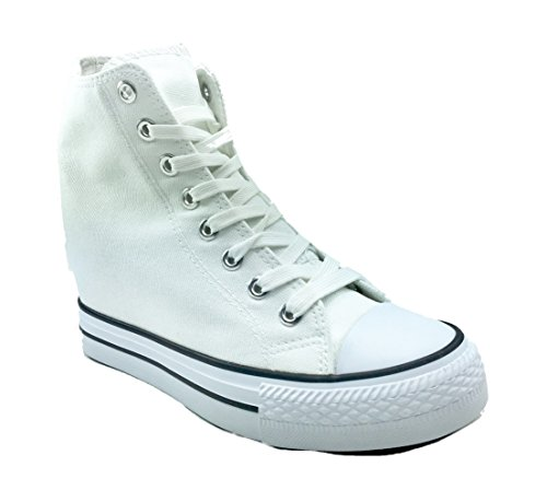 Original Marines - Zapatos de cordones de Lona para mujer Bianco