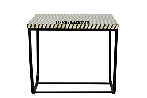 Bone Inlay Side Table Thin Zig Zag Design in Black color on Iron Stand (Table Inlay Bone Side)