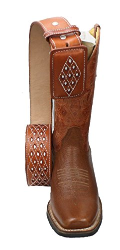 Belt Matching Shoes - Men's Genuine Cowhide Leather Cowboy Square Toe Rodeo Boots with Free Belt_Cognac-10.5