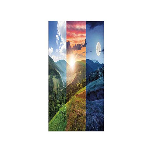 (Ylljy00 Decorative Privacy Window Film/Foggy Mountain Forest View in Various Times of The Day Idyllic Nature Collage/No-Glue Self Static Cling for Home Bedroom Bathroom Kitchen Office Decor Multi)