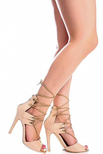 MARILYN MODA GLADIATOR LACE UP STRAP OPEN TOE GOLD ACCENT STILETTO HIGH HEELS SHOES Nude CJEVn