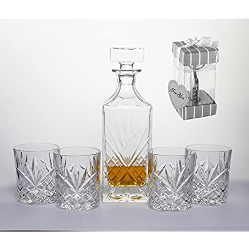 Great Bezrat 5 Piece Decanter And Glasses, Whiskey Lovers Set Bar Glassware Set,  Gifted Boxed Set Includes A Decanter 750ml (with Full Glass Ground Stopper)  And ...