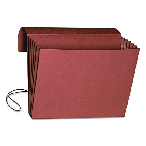 "Smead Expanding File Wallet with Flap and Cord Closure, 5-1/4"" Expansion, Fully-Lined Tear Resistant Gusset, Legal Size, Redrope, 10 per Box (71111) from Smead"
