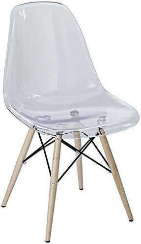 Modway Pyramid Mid-Century Modern Kitchen and Dining Room Chair with Natural Wood Legs in Clear