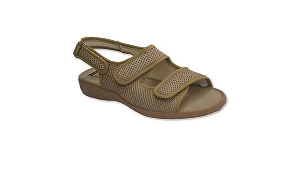 Zapatillas abierta punta y talón con broche de dos tiras de velcro en el empeine y otro atrás Calzamur en beig talla 35 h1ljpVOPD7