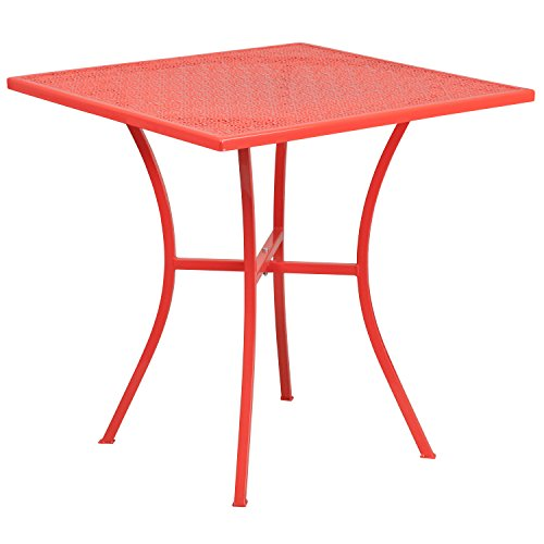 Flash Furniture 28'' Square Coral Indoor-Outdoor Steel Patio Table (Coral Cafe Table)