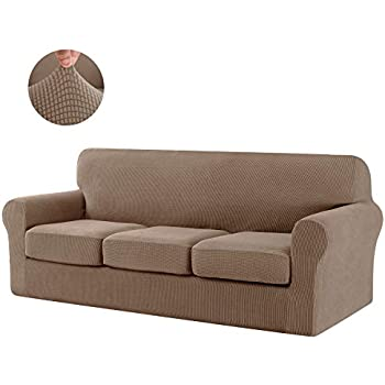 CHUN YI Jacquard High Stretch Loveseat Cover, Ektorp Separate Chair Cushion Universal Slipcover Replacement Coat, Furniture Protector for Couch and Sleeper Sofa(Large,Camel)