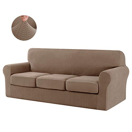 CHUN YI Stretch Sofa Slipcover Separate Cushion Couch Cover, Armchair Loveseat Replacement Coat for Ektorp Universal Sleeper, Checks Spandex Jacquard Fabric (Large,Camel)