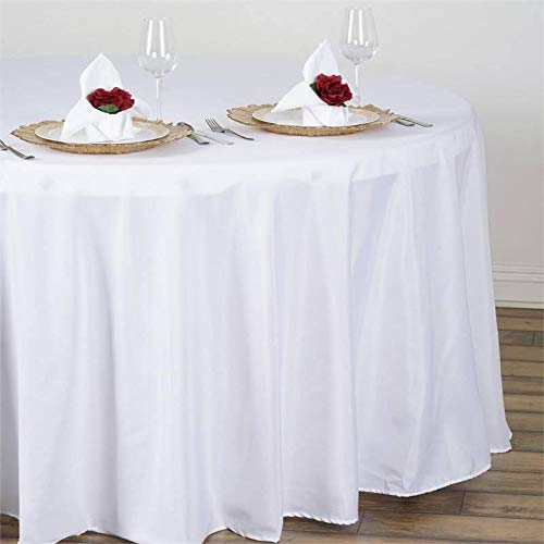 """Efavormart 108"""" Wholesale Round Tablecloth Polyester Round Table Linens for Wedding Party Banquet Restaurant - White"""
